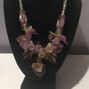 Amazing vintage plastic floral beaded necklace